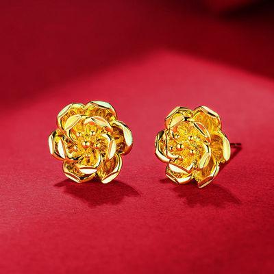 【不掉色防过敏】镀金色简约气质耳钉女复古花朵气质款耳环耳饰