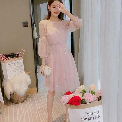 2020春夏装新款星星刺绣收腰灯笼袖连衣裙+吊带裙两件套裙子女装