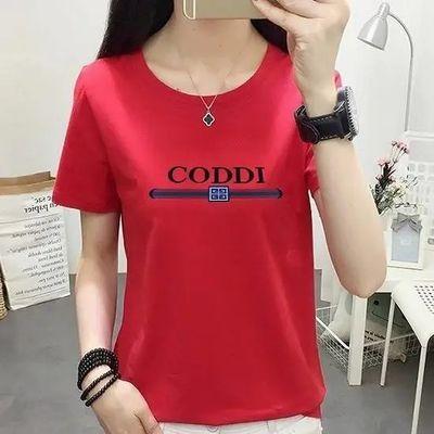 女士短袖t恤夏季宽松版短T少女韩版款大码学生女人短款百搭打底衫
