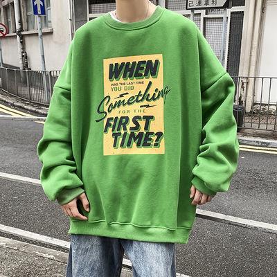 荧光绿卫衣男宝蓝色t恤十二色多色高街含棉情侣装夏ins网红cec长