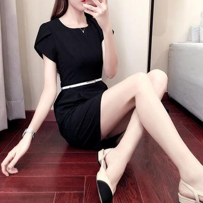 职业装连衣裙女短袖2020夏装新款修身OL气质灰色面试A字裙工装夏