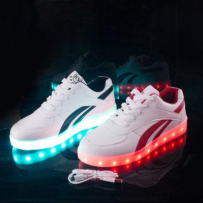 防水充电七彩发光鞋鬼步鞋亮灯鞋夜光男女情侣学生韩版单鞋街舞鞋