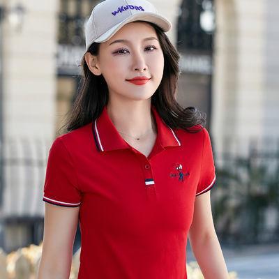 95棉 2020早春短袖t恤女韩版宽松休闲女装运动翻领polo衫女士体恤