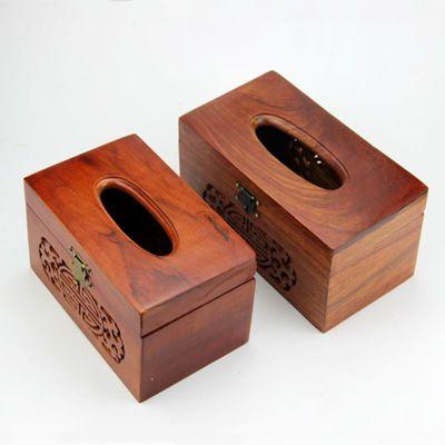 新款越南花梨木纸巾盒榫卯实木制餐纸盒红木工艺品家用复古创意抽