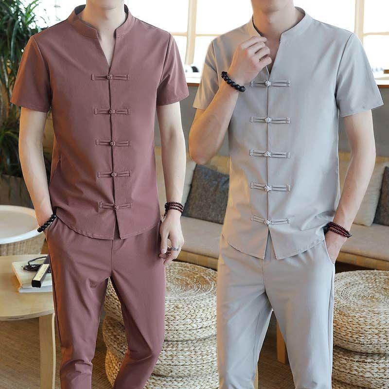 夏季套装男短袖T恤男士套装汉服时尚两件套唐装休闲套装衣服男装