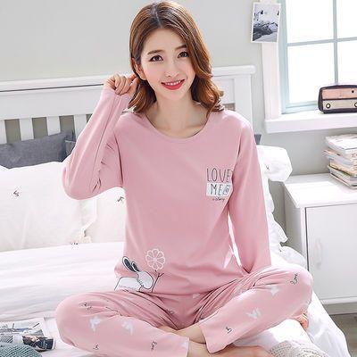 【双面睡衣】秋冬季长袖韩版女士学生卡通纯色棉质休闲睡衣家居服