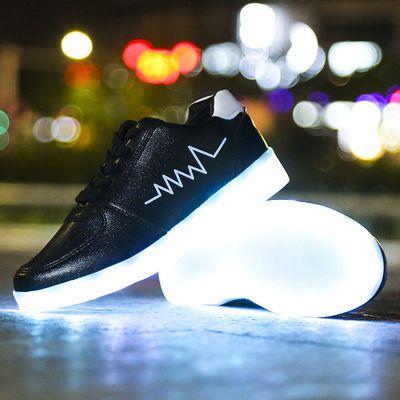 防水充电七彩发光鞋男女鬼步鞋情侣夜光运动鞋学生跑步鞋荧光板鞋