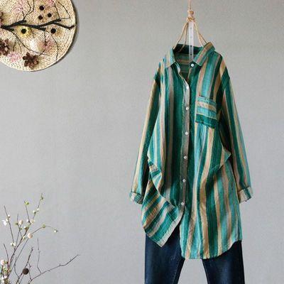 复古彩色文艺竖条纹棉麻女装衬衫百搭宽松中长款外套春秋季外套