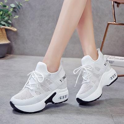 内增高女鞋8cm透气小白鞋夏季韩版内增高运动鞋女网面休闲跑步鞋