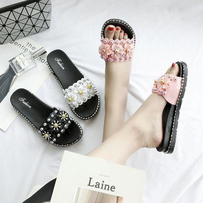 chic拖鞋女鞋夏季新款韩版时尚学生凉拖室外穿平底一字拖花朵