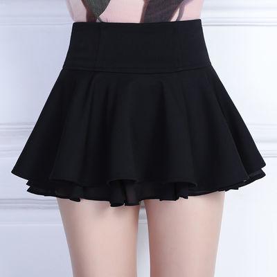 超短裙女高腰安全裤无内衬小裙子迷你小个子蛋糕裙百褶蓬蓬半身