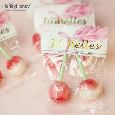 网红创意棒棒糖樱桃味糖琥珀糖果水果味棒棒糖结婚回礼喜糖盒子