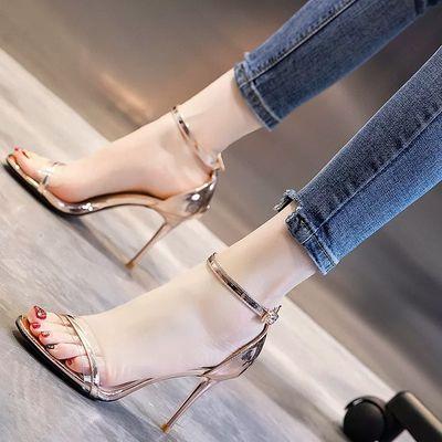 网红凉鞋女仙女风2020夏季新款透明宽带一字扣细跟设计高跟鞋夜场