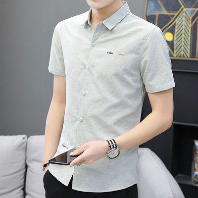 夏季男士短袖衬衫中袖韩版修身潮流帅气寸衫夏装青少年休闲衬衣服