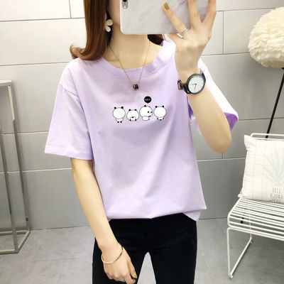 纯棉16夏季韩版少女13初中生半截袖衫15学生14岁上衣服短袖T恤女