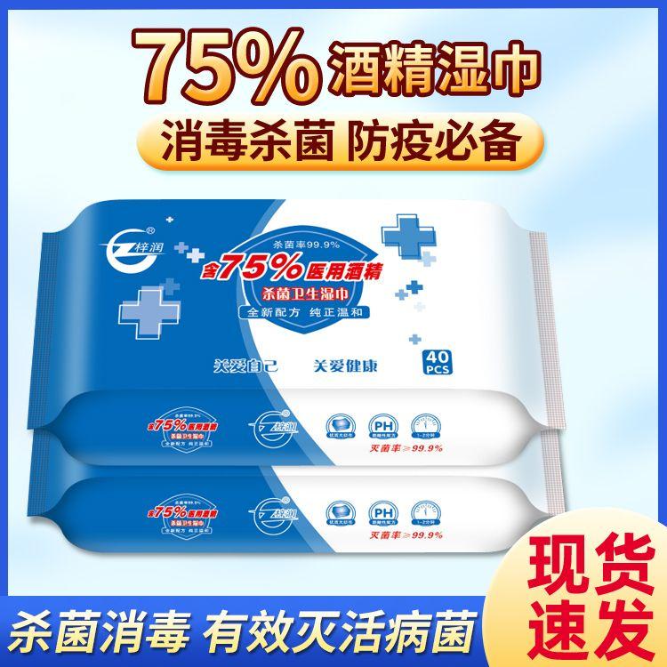 【现货速发】酒精消毒乙醇湿巾75度除菌杀菌便携一次性卫生湿巾纸
