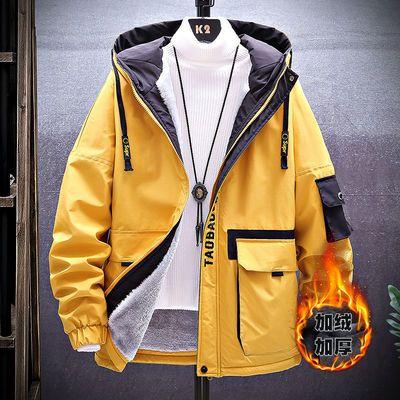 2020新款男士外套男装棉衣加绒加厚棉服工装学生韩版潮流连帽棉袄