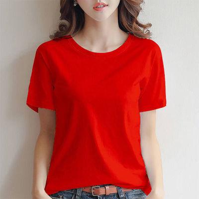 【春】纯棉纯色t恤女短袖2020新款白色加肥加大圆领上衣纯棉黑色