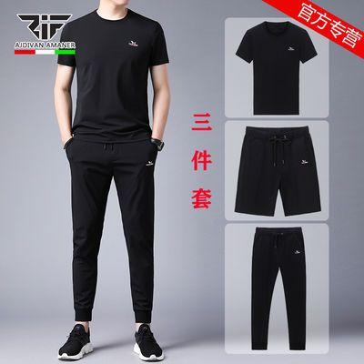 乔奇阿玛尼夏季新款t恤休闲套装男短袖潮流运动休闲宽松大码男装T