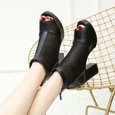 春夏季新款网纱鱼嘴女鞋休闲真皮凉靴百搭高跟网靴粗跟镂空凉鞋女