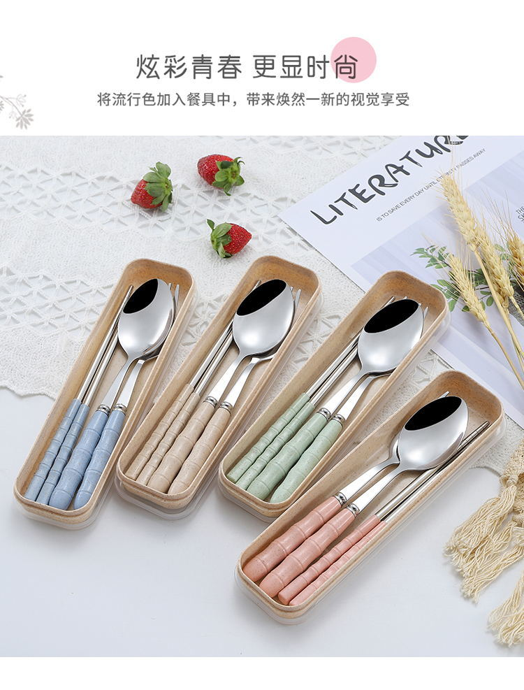 【48小时内发货】【三件套】不锈钢小麦秸秆筷子勺子叉学生成人旅行食堂便携式餐具