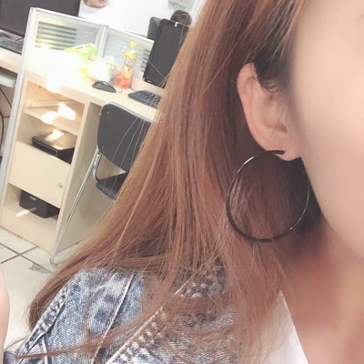 时尚大圆圈耳环女黑色个性耳圈耳夹日韩夸张耳坠简约气质光圈耳饰