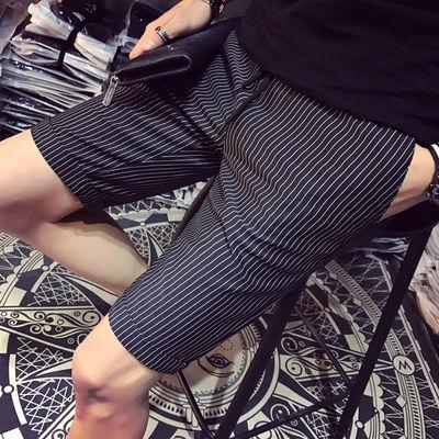 潮牌休闲短裤男夏季韩版修身条纹五分裤学生夏天中裤马裤薄款西裤