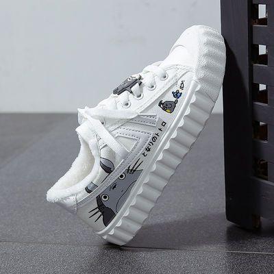 2020新款龙猫帆布鞋女女棉鞋平底百搭学生韩版加绒保暖小白鞋
