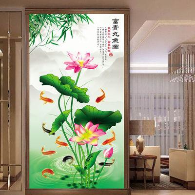 九鱼图荷花玄关装饰画招财风水酒店宾馆客厅走廊过道竹子挂画墙贴