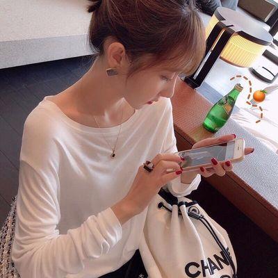 纯棉2020春秋新款百搭白色长袖T恤女宽松上衣爆款内搭打底衫防晒