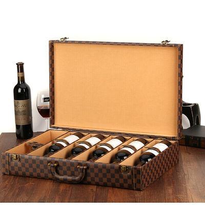 曼筠红酒盒六支装单排6瓶只葡萄酒包装盒礼盒黑色红酒皮箱子定做
