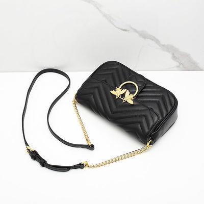 Fion/菲安妮小众轻奢女包 单肩斜挎包女 蜜蜂链条包包时尚小黑包