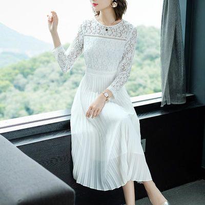 2020春季新款白色雪纺蕾丝拼接连衣裙女中长款气质超仙百褶裙长裙
