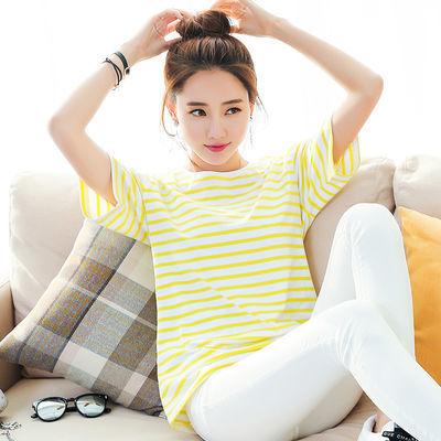 95棉优质款2020夏季新款条纹t恤女宽松短袖女学生韩版ins上衣潮