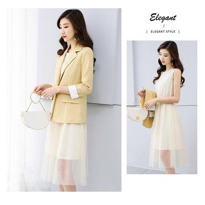 XWI2020春装新款女款时尚拼接网纱打底连衣裙撞色西装两件套套装