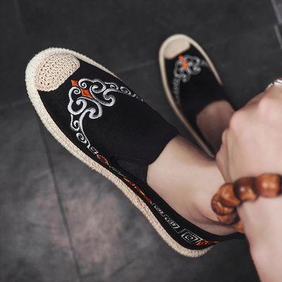 夏季韩版潮流中国风百搭豆豆板鞋男士休闲英伦刺绣老北京帆布鞋子