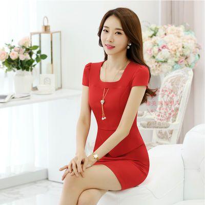 2020款连衣裙夏季复古OL红色职业女装包臀修身气质韩版显瘦女裙子