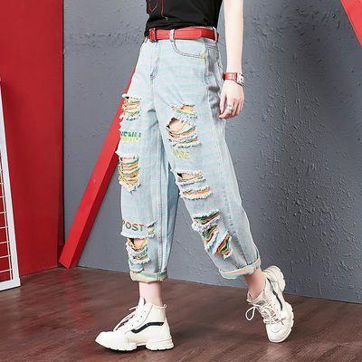 条纹牛仔裤女欧洲站2020新款潮宽松浅色刺绣老爹九分破洞牛仔裤女