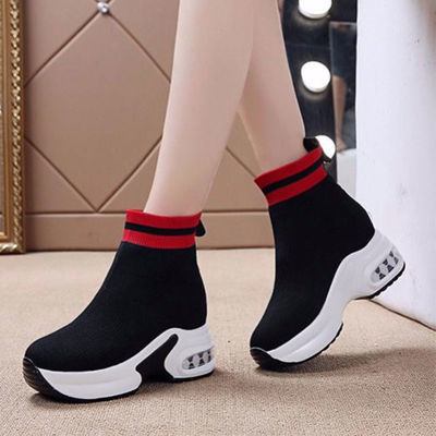 弹力透气袜子鞋女内增高2020春季新款百搭显瘦厚底高帮运动休闲鞋