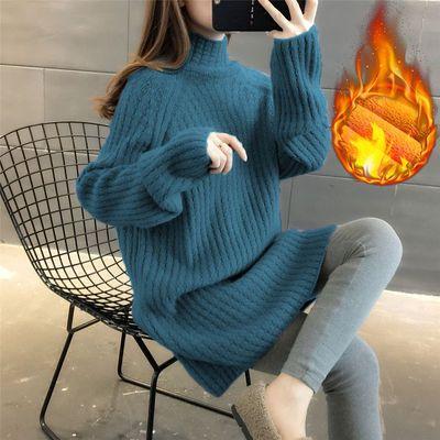 当天发货 加绒/不加绒 高领毛衣女中长款2020新款韩版宽松针织衫