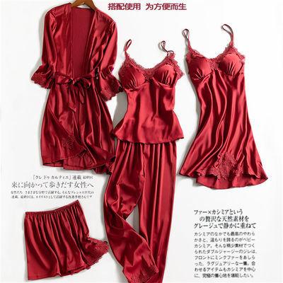 带胸垫春秋睡衣女性感四五件套丝绸吊带睡裙夏天冰丝女士睡袍夏季