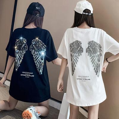 重工烫钻翅膀中长款短袖T恤嘻哈风夏季女装宽松显瘦上衣T恤裙潮款