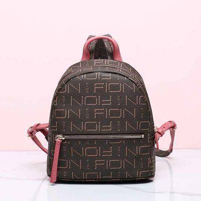 FION/菲安妮新款双肩包旅行包 女士拉链印花背包青年防水书包小包