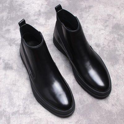 欧美男士切尔西靴潮流休闲高帮男鞋真皮马丁靴男短靴厚底真皮靴子