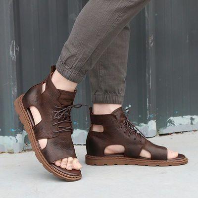 2020夏季新款罗马男凉鞋潮流时尚休闲男沙滩鞋高帮真皮男士凉皮鞋