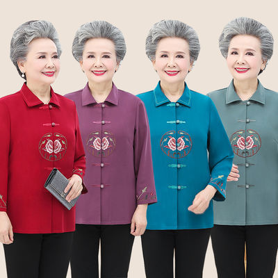 老年人春装女60岁70奶奶装妈妈衬衫长袖夏装衬衣老太太薄外套衣服