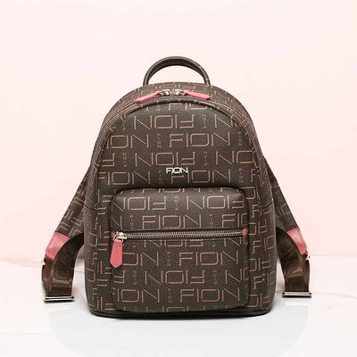 FION菲安妮粉色双肩包女休闲潮流女式旅行包时尚书包防水女士背包