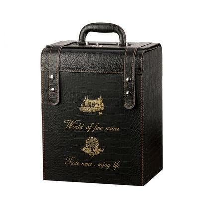 曼筠车载红酒箱红酒盒六支装通用葡萄酒包装盒六支车载红酒皮箱子