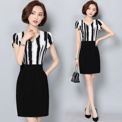 假两件雪纺连衣裙女夏季韩版2020新款女装修身OL职业气质包臀中裙