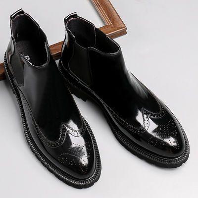 冬季布洛克马丁靴男加绒保暖男靴子男士高帮棉皮鞋真皮靴短靴棉靴